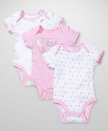 Sterling Baby Pack of 3 Onesie - White & Pink