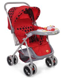 Baby Stroller Cum Pram With Musical Play Tray Polka Dot Print - Red & Grey