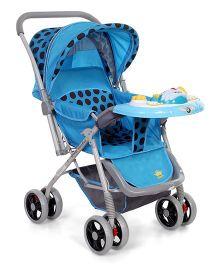 Baby Stroller Cum Pram With Musical Play Tray Polka Dot Print - Blue & Grey