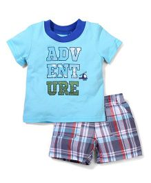 Vitamins Baby Adventure Print Shorts & T-Shirt - Blue & Grey