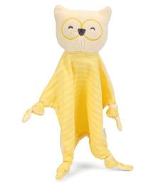 I Play Owl Face Animal Blankie - Yellow