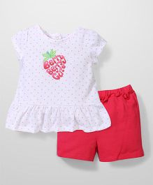 Vitamins Baby Dot Print Top & Shorts Set - Pink & White