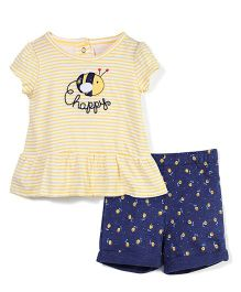 Vitamins Baby Happy Print Top & Shorts Set - Yellow & Blue