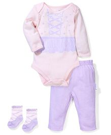 Sterling Baby Flower Print Bodysuit, Pant & Socks Set - Pink & Purple
