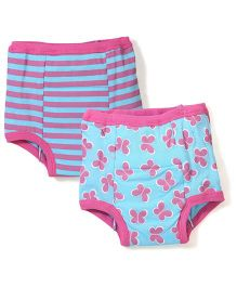 I Play Butterfly Print Pack of 2 Diaper Pants - Aqua Blue