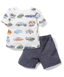 Sterling Baby Vehicle Print T-Shirt & Shorts Set - Cream & Grey