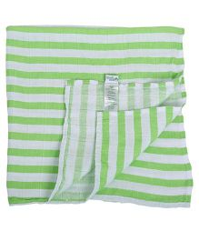 I Play Stripe Organic Wash Cloth - White & Green