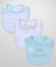 Sterling Baby Printed Bibs Pack of 3 - White & Blue
