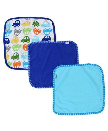 I Play Car Print Pack of 3 Washcloths - Blue