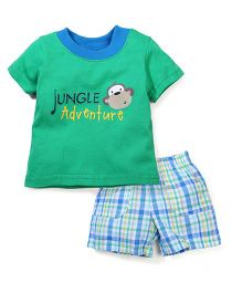Vitamins Baby Jungle Adventure Print T-Shirt & Shorts Set - Green