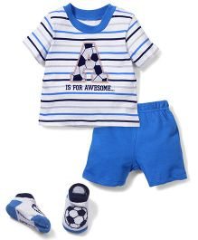 Vitamins Baby A is for Awesome Print T-Shirt & Shorts Set - White & Blue