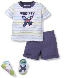 Vitamins Baby Wing Man Print T-Shirt, Shorts & Socks Set - White & Blue