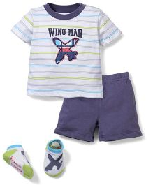 Vitamins Baby Wing Man Print T-Shirt, Shorts & Socks Set - White & Blue