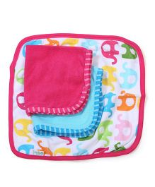 I Play Elephant Print 3 Piece Washcloths - Multicolor
