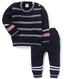Babyhug Full Sleeves Stripe Sweater And Bottom - Navy