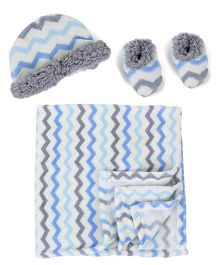 Lovespun Geo Print Stroller Blanket with Booties & Cap - Blue & Grey