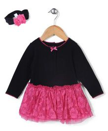 Vitamins Baby Stylish Dress & Headband Set - Black & Pink