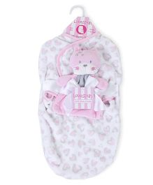 Lovespun Buddy Swaddle Blanket  - Pink & White
