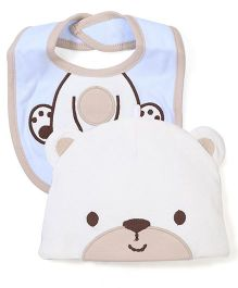 Lovespun Puppy Print Cap & Bib Set - Cream & Blue