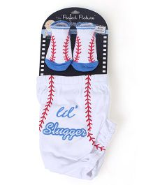 Lovespun Slugger Print Diaper Cover & Socks - White