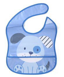Lovespun Puppy Print Bib - Blue