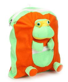 IR School Bag Frog Design Orange Green - 12 inch