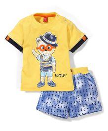 Wow Half Sleeves T-Shirt & Printed Denim Shorts Set - Yellow