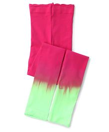Jefferies Socks With Ruffles Footless Tights - Green & Pink