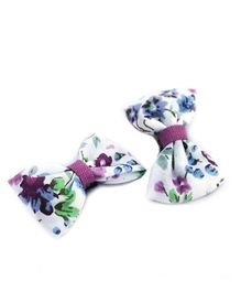 Pigtails And Ponys Floral Bow Hair Clips - Multicolour
