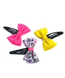 Pigtails And Ponys Set Of 3 Bow Clips - Pink Yellow White