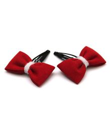Pigtails And Ponys Felt Bow Hair Clips - Maroon