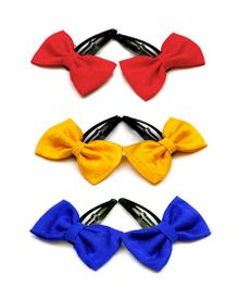 Pigtails And Ponys Set Of 3 Bow Hair Clips - Red Yellow Blue