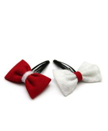 Pigtails And Ponys Felt Bow Clips - Red & White