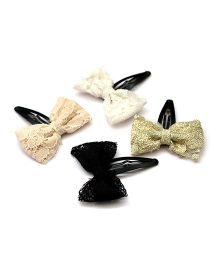 Pigtails And Ponys Lace Bow Clips - Black White Golden Beige