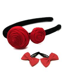 Pigtails And Ponys Roses & Bows Clips & Hairband - Red