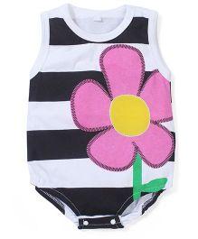 Superfie Flower Print Onesie - Black Pink & White