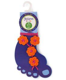 Jefferies Socks Floral Design Barefoot Sandals - Orange