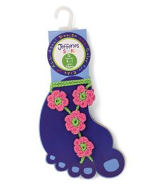 Jefferies Socks Floral Design Barefoot Sandals - Pink