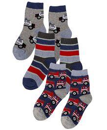 Jefferies Socks 3 Pairs Of Crew Socks - Grey & Multicolour