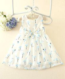 Peach Giirl Flamingo Party Dress - White & Blue