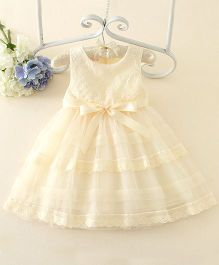 Peach Giirl Flower Print Party Dress  - Cream