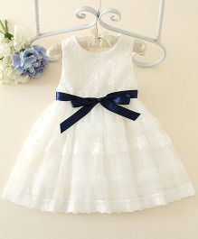 Peach Giirl Party Dress With Blue Sash  - White
