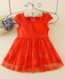 Peach Giirl Party Feather Dress  - Red