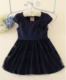 Peach Giirl Feather Party Dress  - Navy Blue