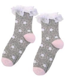 Jefferies Socks Floral Design Socks - Grey