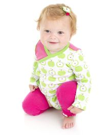 juDanzy Apple Print Onesie - Green & Pink