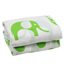 juDanzy Pack Of 2 Muslin Swaddle Blankets - White & Lime