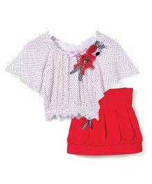 Mickey Umbrella Sleeves Top With Floral Applique & Pleated Skirt Set - White & Red