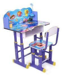 Study Table And Chair Set Sea World Print - Blue
