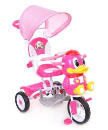 Baby Tricycle With Parents Push Handle Duck Design - Pink